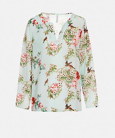 Floral print blouse with a tunisian neck, regular fit and long-sleeve