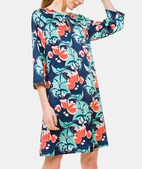 floral print dress, round neck with teardrop. 3/4 length sleeve