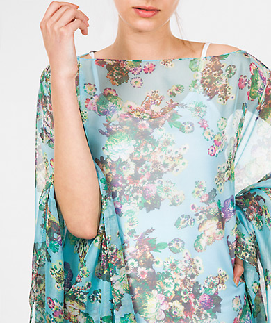 Floral print poncho with boat neck