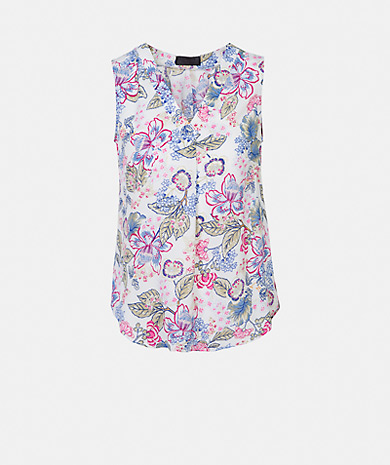 Floral print top with a v-neck, pleat and loose cut