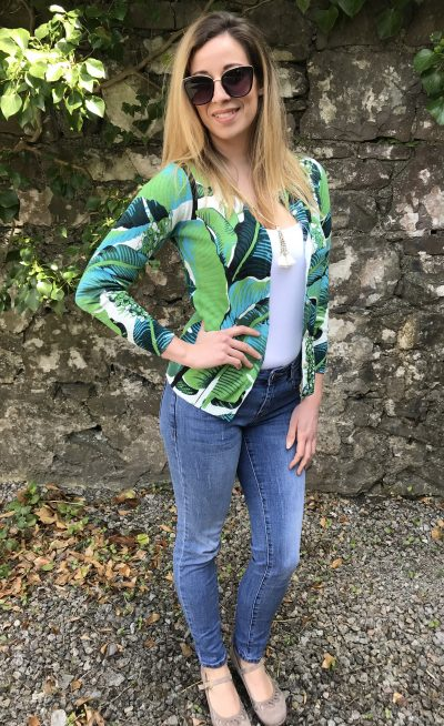 Tropical print cardigan with round neck