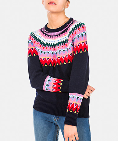 Jacquard knit sweater with round neckline, long sleeve and ribbed trims