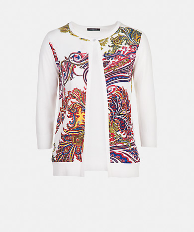 Knit cardigan with a printed fabric, round neck, button fastening and three-quarter sleeve