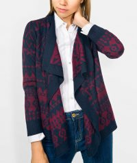 Jacquard knit jacket with front drape effect and long sleeve