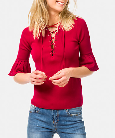 Lace-up neckline knit sweater with tailored fit and three-quarter sleeve with ruffle.