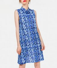 Printed dress with classic collar, button fastening and a-line cut.
