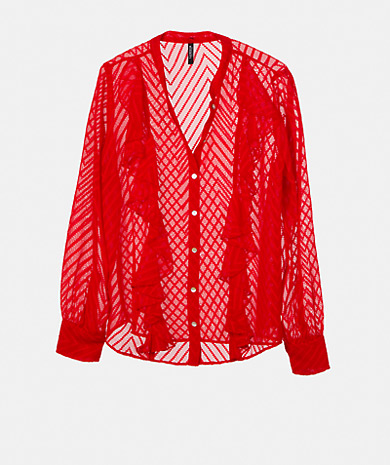 Ruffles chifon blouse with a straight cut, round neckline, button fastening, long sleeve and button cuff