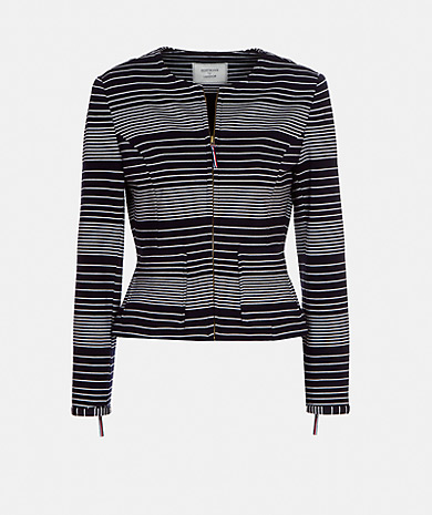 Striped punto di rome jacket with a round neckline, zip fastening, tailored fit, long-sleeve and pockets