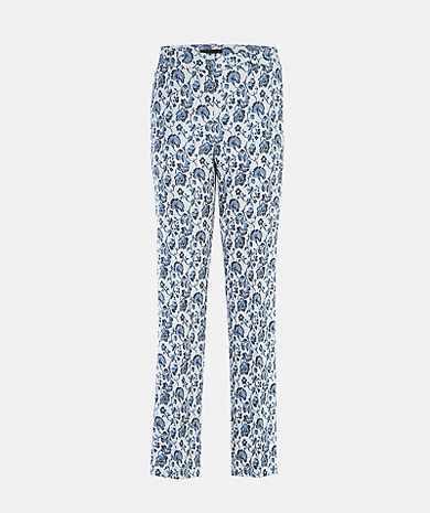 Trousers with jacquard and right cut Straps pockets and zip fastening with strap and clasp