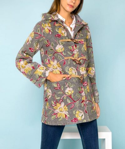 Embroidered woven duffle coat with toggles fastening, detachable hood, straight cut, long sleeve, strap cuff and lining