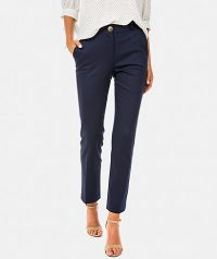 Textured straight leg trouders with pockets, belt loops concealed zip and button fastening