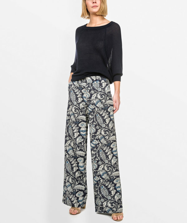 Printed straight cut trousers