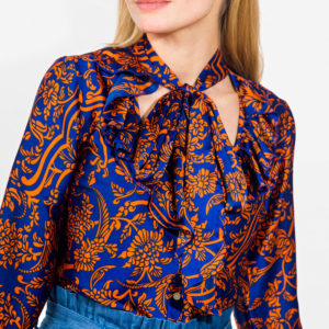 Pussy bow printed blouse