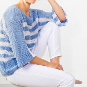 Striped knit sweater with boat neckline