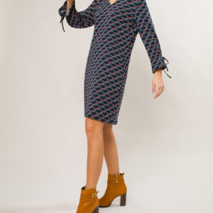 Printed Dress with V Neck