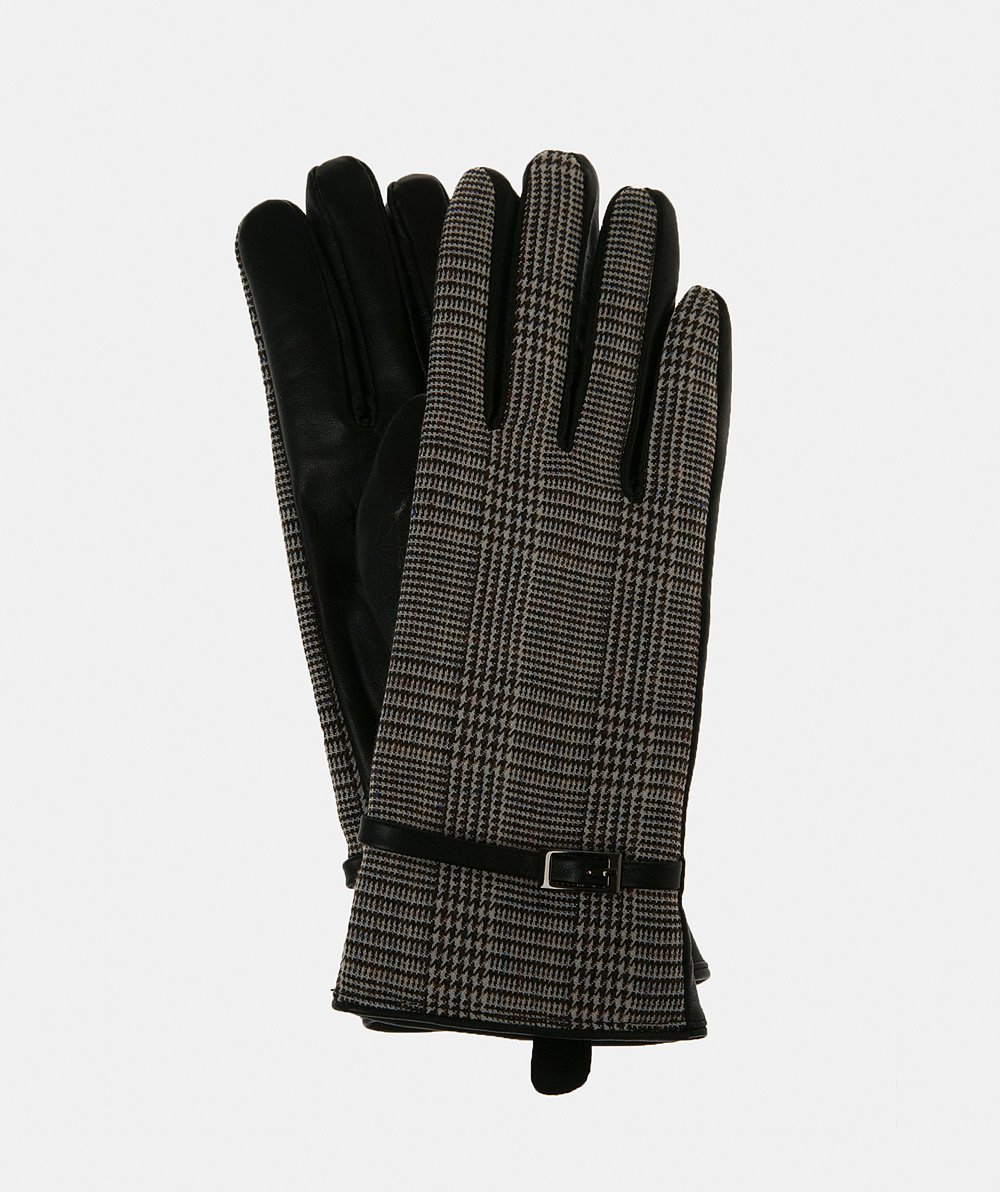 Checked leather gloves