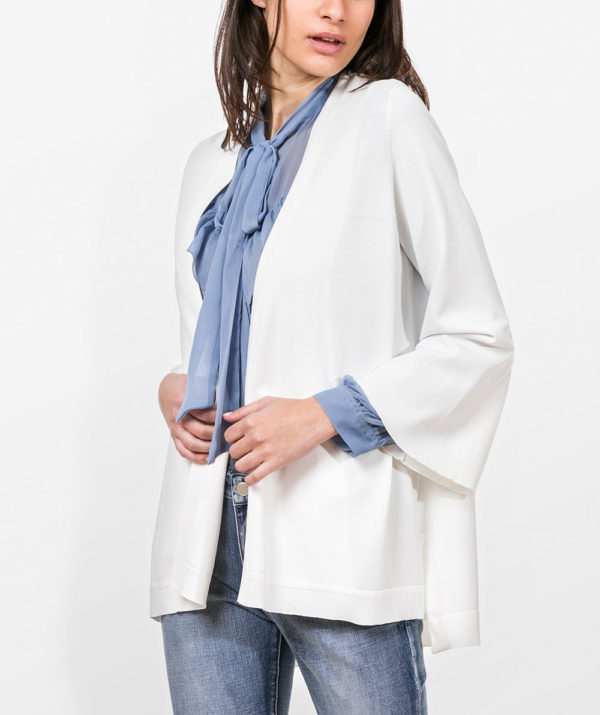 Knit cardigan with open front