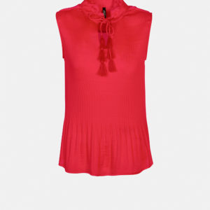 Plissé top with ruffle collar