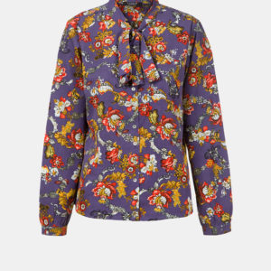 Pussy bow floral print blouse