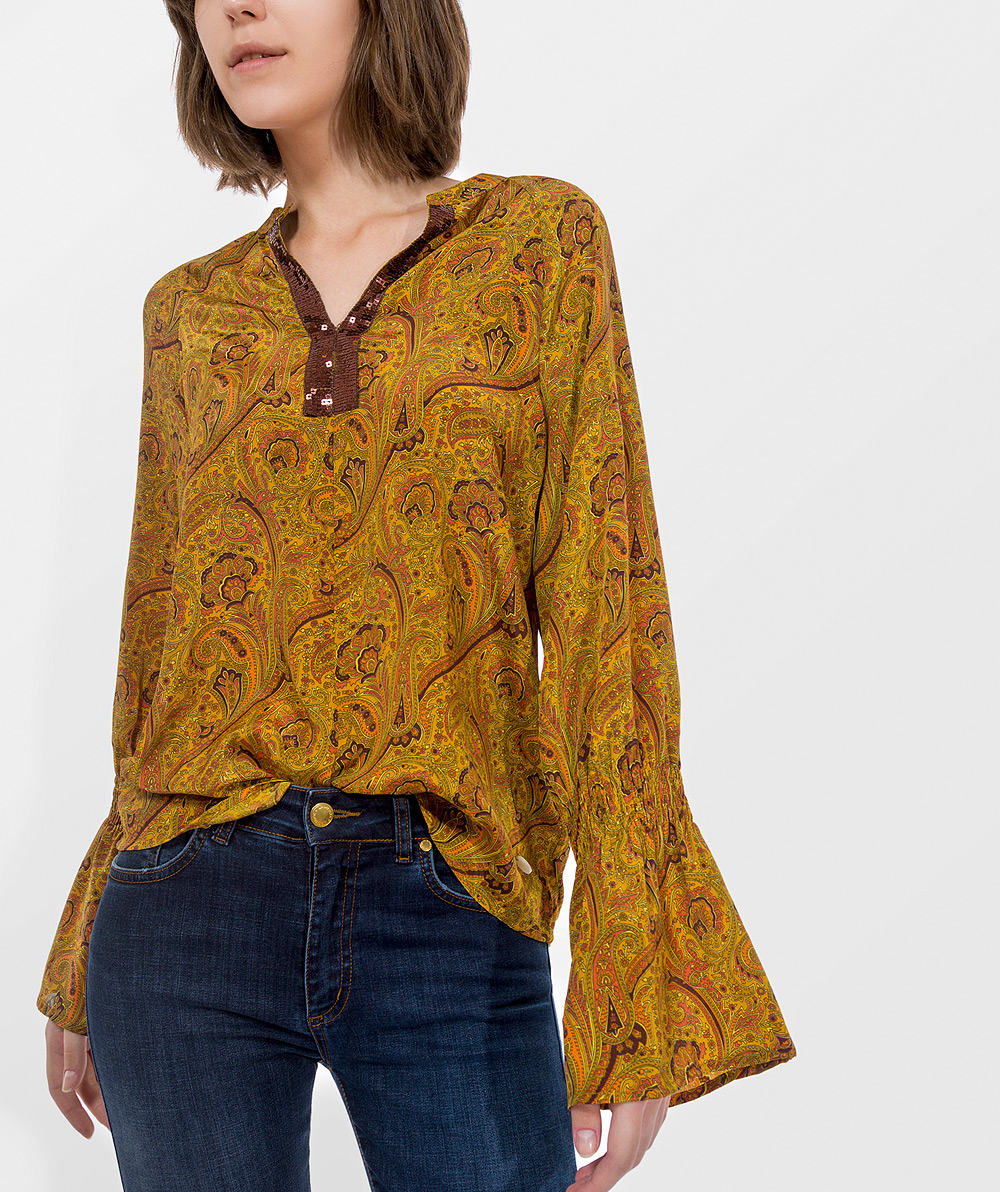 Printed blouse with sequin details