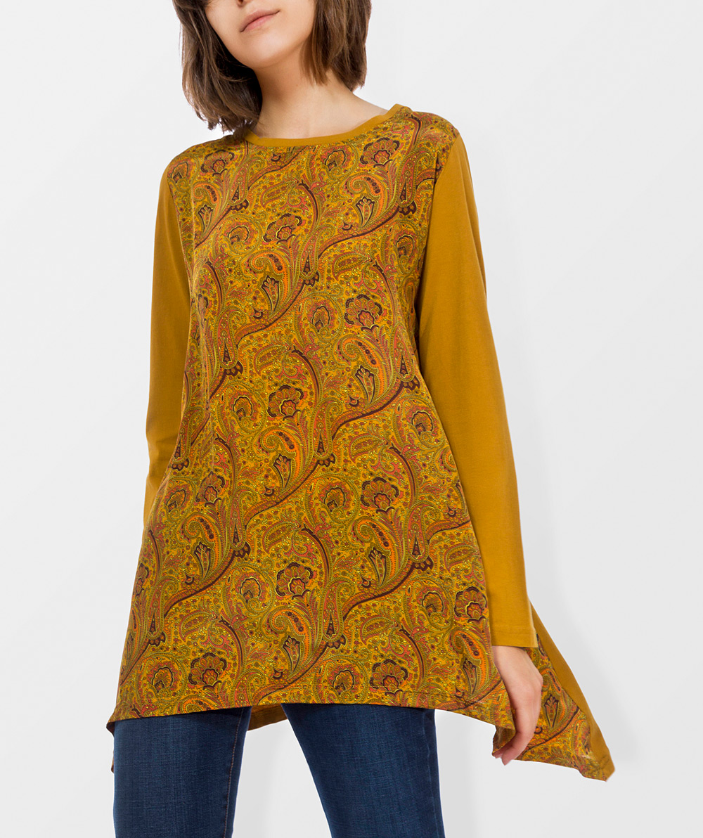 Printed tunic with round neck