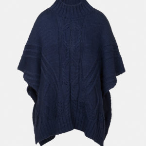 Cable knit poncho