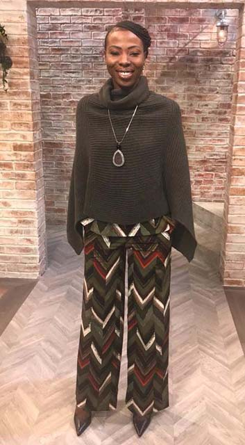 Geometric print top and trousers