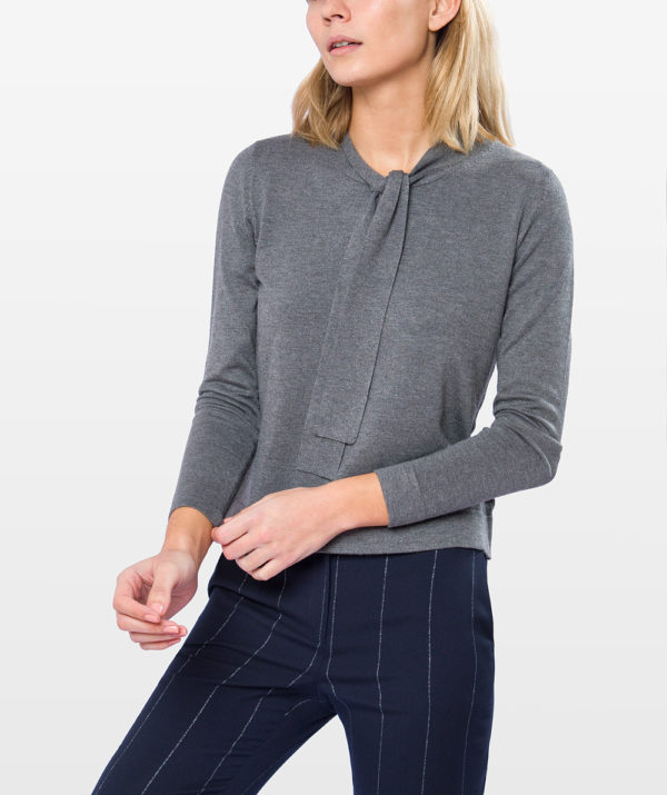 Pussy bow knit sweater