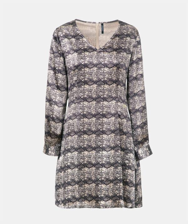 V-neck A-line print dress