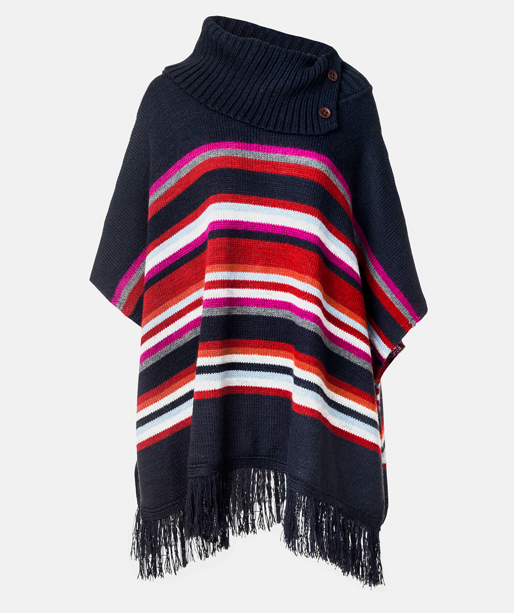Striped knit poncho