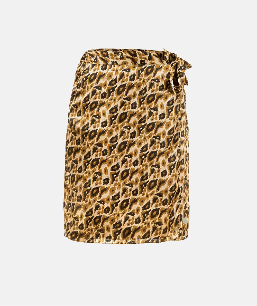 Animal print wrap skirt