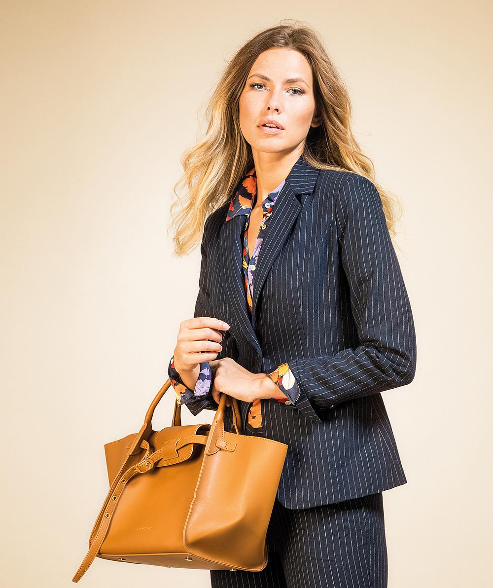 Pinstriped tailored blazer