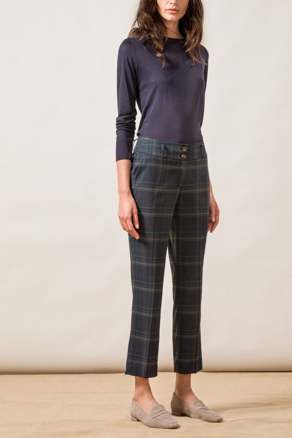 Cropped Check Trousers