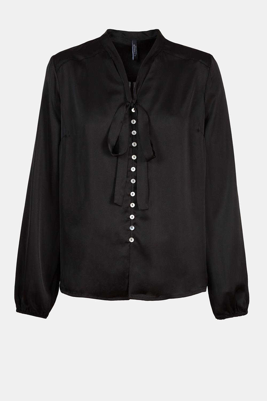 Satin bow-tie blouse