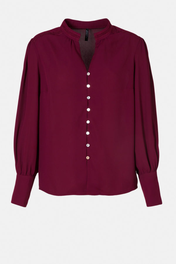 High Collar Blouse with Lace Detail