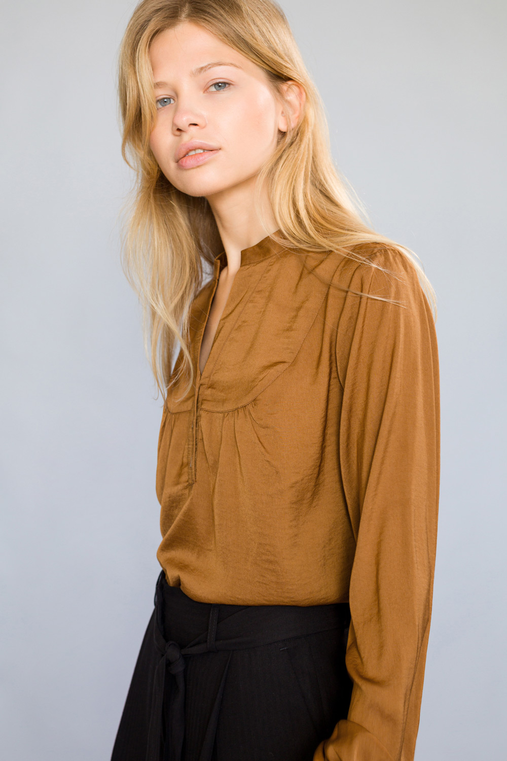 High Collar Blouse with Buttons