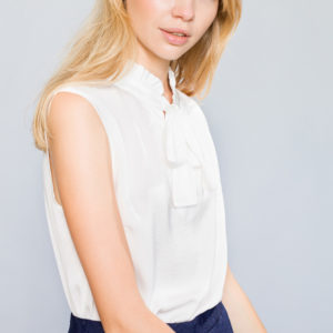Gathered collar Top with Tie Knot