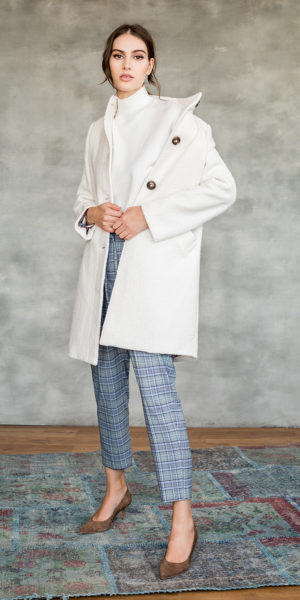 Boucle coat with high collar