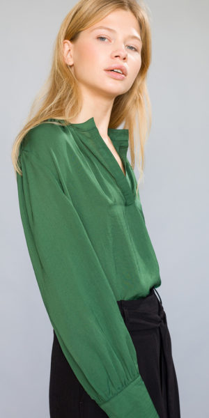 Gathered collar blouse