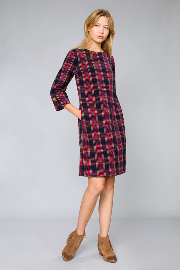 Checked A-line dress