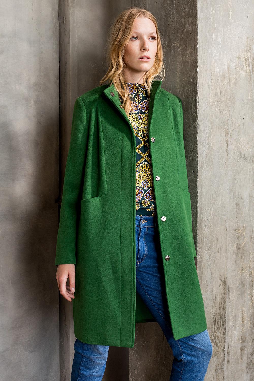 High neck woven coat