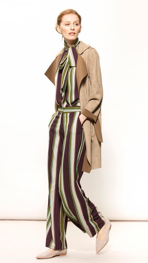 Striped Straight Leg Trousers