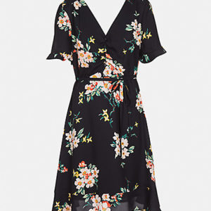 Floral Dress with Tie Belt