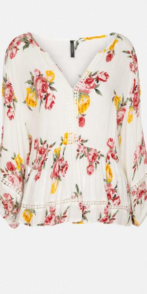Floral print blouse with lace details