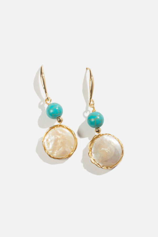 Pearl and stone earrings