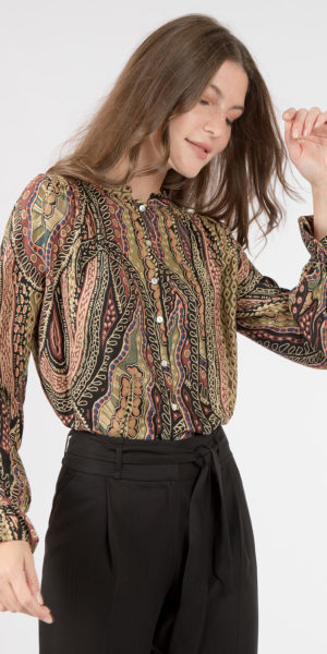 Printed blouse with round neck