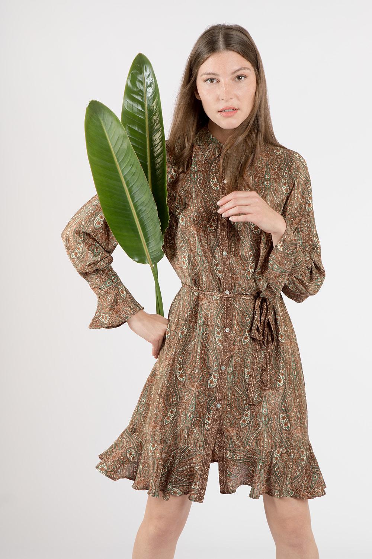 Paisley print shirt dress