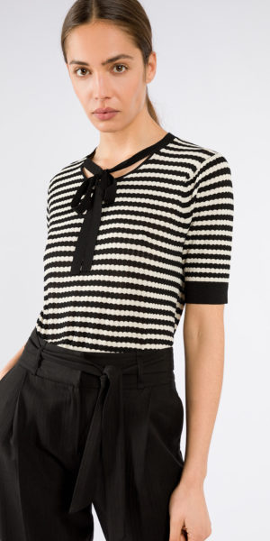 Striped Sweater with Tie-Bow