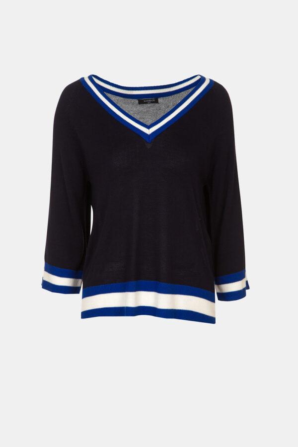 Striped knit v-neck sweater