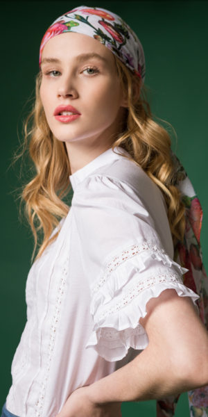 lace and ruffle cotton blouse